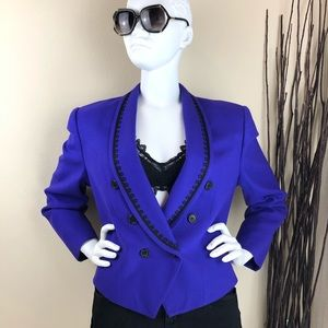 Evan-Picone ~ Purple with Detail Lapel Wool Blazer